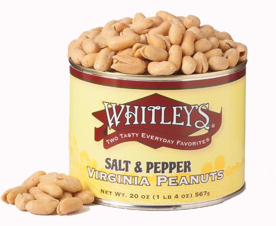 Two 20 oz. Tins Salt & Black Pepper Virginia Peanuts - SAVE $7
