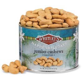 Case 12 - 18 oz. Salted Jumbo Cashews Holiday Tins