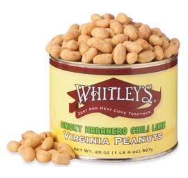 Case 12 - 20 oz. Tins Smoky Habanero Chili Lime Virginia Peanuts