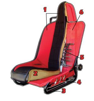 Mastercraft Baja RS Seat w/ Adjustable Headrest Left Black with Black  Center & Red Side Panels