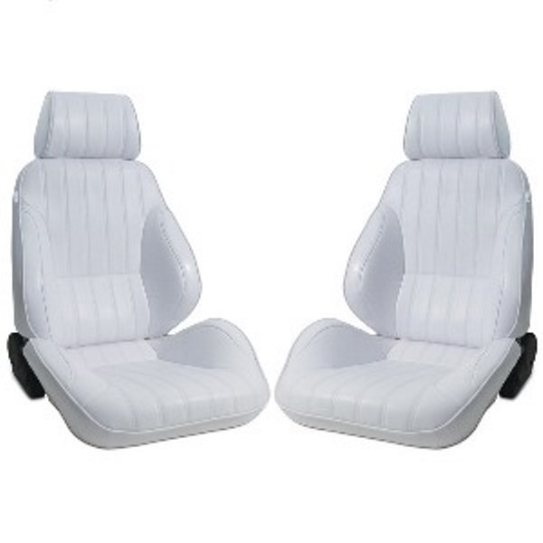 Procar Rally Seats PAIR White Vinyl with Sliders