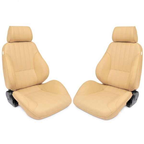 Procar Rally Seats PAIR Beige Vinyl with Sliders