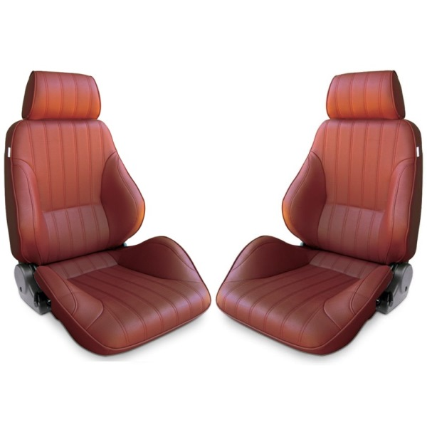 Procar Rally Seats PAIR Maroon Vinyl with Sliders