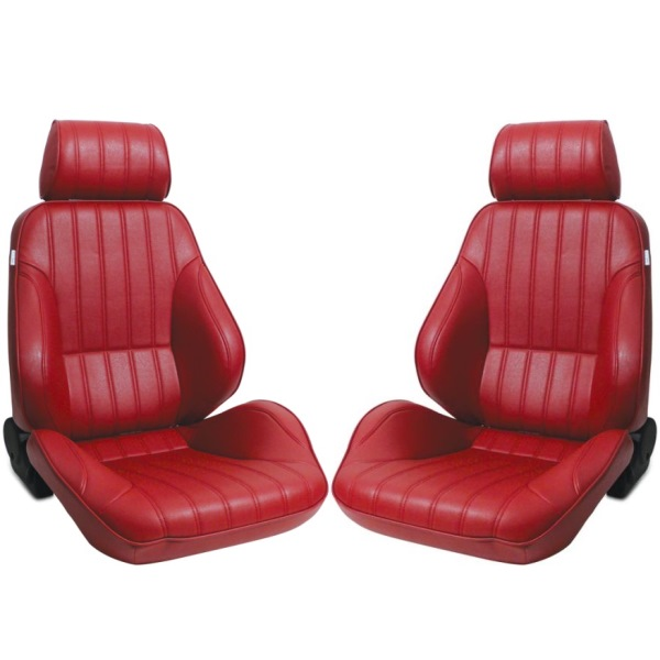 Procar Rally Seats PAIR Red Vinyl with Sliders