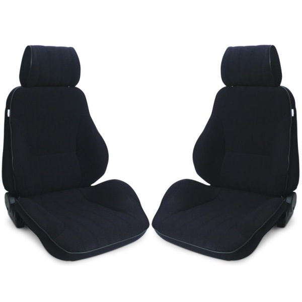 Procar Rally Seats PAIR Black Velour with Sliders