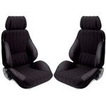 Procar Rally Seats PAIR Black Vinyl /Black Velour w/ Sliders