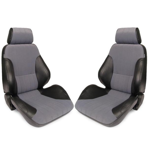 Procar Rally Seats PAIR Black Vinyl / Grey Velour w/ Sliders