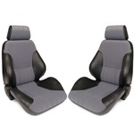 Procar Rally Seats PAIR Black Vinyl / Grey Velour w/ Sliders