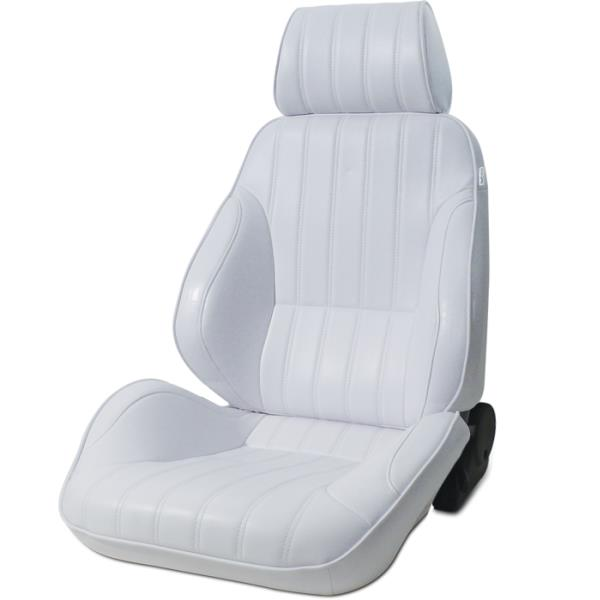 ProCar Rally Seat White Vinyl w/ Sliders