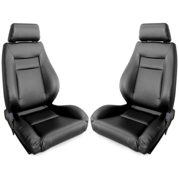 Procar Elite Seats PAIR Black Leather with Sliders