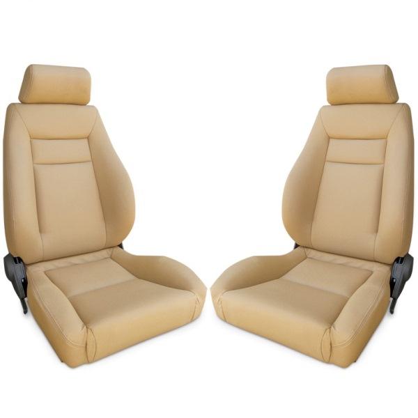 Procar Elite Seats PAIR Beige Vinyl with Sliders