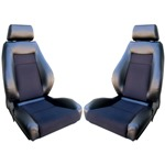 Procar Elite Seats PAIR Black Vinyl /Black Velour w/ Sliders - with Mounting Brackets & Storage