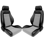 Procar Elite Seats PAIR Black Vinyl / Grey Velour w/ Sliders