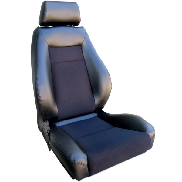 ProCar Elite Seat Black Vinyl / Black Velour w/ Sliders