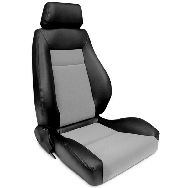 ProCar Elite Seat Black Vinyl / Grey Velour w/ Sliders