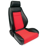 ProCar Elite Seat Black Vinyl / Red Velour with Sliders