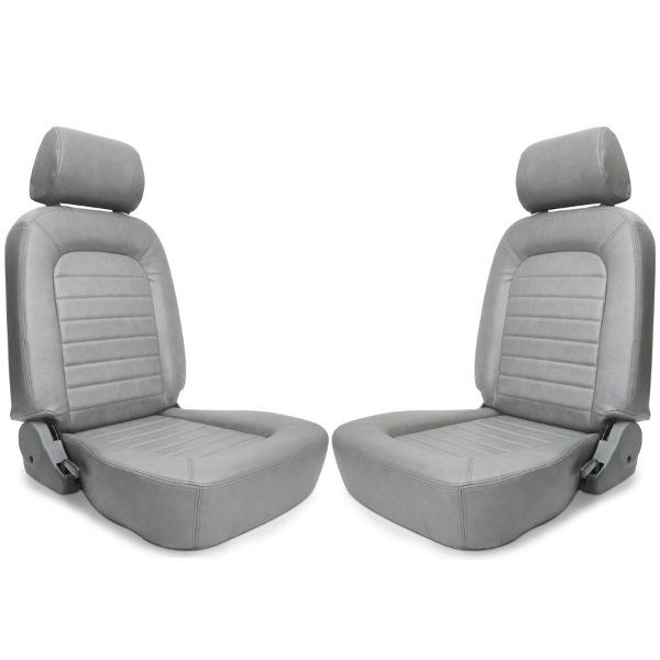 Procar Classic Seats PAIR Grey Vinyl with Sliders