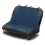 Mastercraft Rubicon DirtSport Bench Seat 40in 03-06 Jeep TJ Bolt-In - Black Vinyl & Blue Fabric