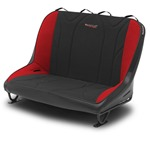 Mastercraft Rubicon Rear Bench Seat 36in 87-95 Jeep YJ Bolt-In - Black Vinyl & Black/Red Fabric