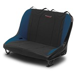 Mastercraft Rubicon Rear Bench Seat 36in 76-86 Jeep CJ Bolt-In - Black Vinyl & Black/Blue Fabric