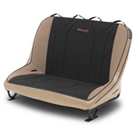 Mastercraft Rubicon Rear Bench Seat 40in 66-77 Bronco Bolt-In - Tan Vinyl & Black/Brown Fabric