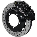 Wilwood Superlite 4R Big Brake Front Brake Kit 76-77 Bronco 17in Wheels Drilled Black w/ Lines
