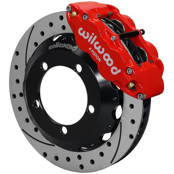 Wilwood Superlite 4R Big Brake Front Brake Kit 76-77 Bronco 17in Wheels Drilled Red w/ Lines