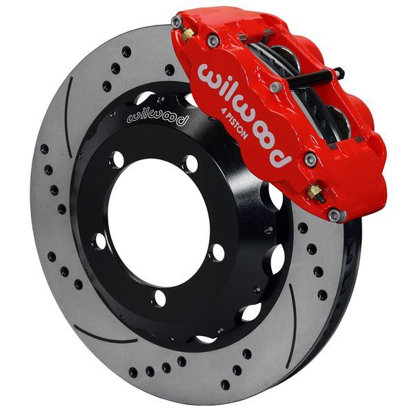 Wilwood Superlite 4R Big Brake Front Brake Kit 76-77 Bronco D44 18in Wheels Drilled Red w/ Lines