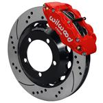 Wilwood Superlite 4R Big Brake Front Brake Kit 76-77 Bronco D44 18in Wheels Drilled Red w/ Lines