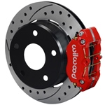 Wilwood Dynapro Lug Mount Rear Parking Brake Kit 66-75 Small Bearing Bronco 15in Wheels Drilled Red