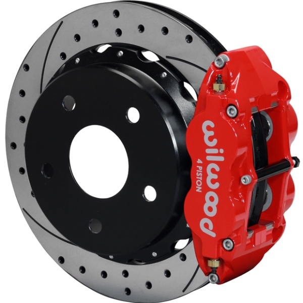 Wilwood Superlite 4R Big Brake Rear Parking Brake Kit 76-77 Bronco 17in Wheels Drilled Red