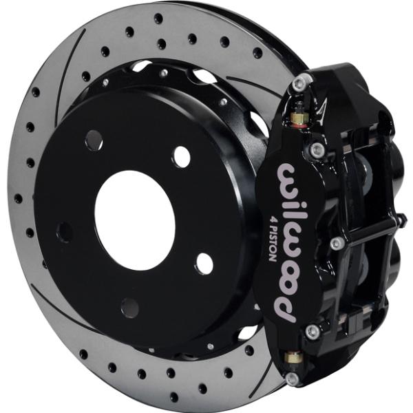 Wilwood Superlite 4R Big Brake Rear Parking Brake Kit 76-77 Bronco 18in Wheels Drilled Black