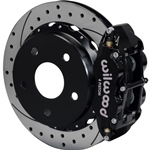 Wilwood Superlite 4R Big Brake Rear Parking Brake Kit 76-77 Bronco 18in Wheels Drilled Black