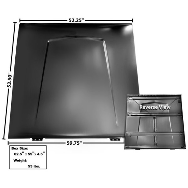 1966-77 Custom Plain Style Stock Steel Hood No Vents