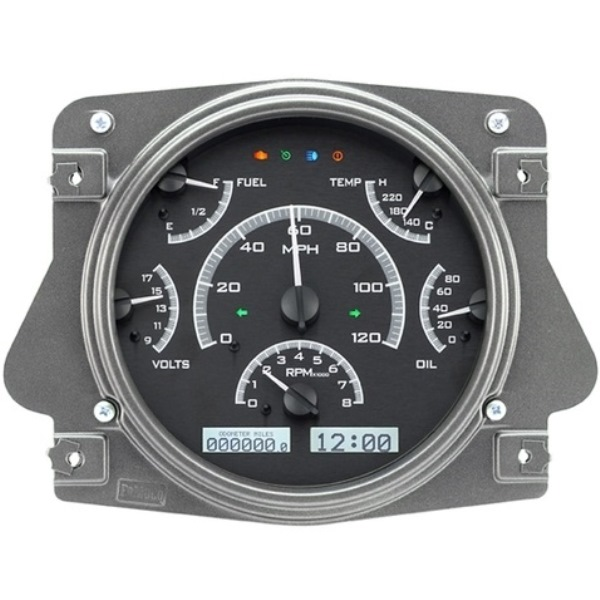 Dakota Digital Dash VHX Black Alloy/White 66-77 Bronco / 61-66 Pickup