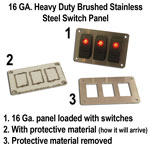 Brushed Stainless Steel 3 Switch Panel