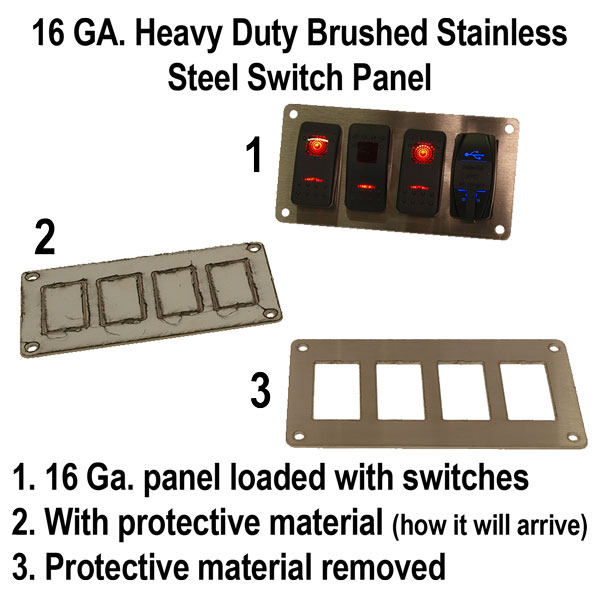 Brushed Stainless Steel 4 Switch Panel