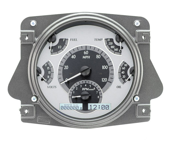 Dakota Digital Dash VHX Silver Alloy/White 66-77 Bronco / 61-66 Pickup