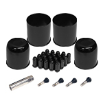 Black Cap And Spline Lug Wheel Install Kit 4 stems 2 open 2 closed caps 20 spline lugs and key