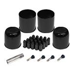 Black Cap And Spline Lug Wheel Install Kit 4 stems 2 open 2 closed caps 20 spline lugs and key