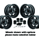US Mags Indy Wheel Vintage Set of 4 Matte Black 15x10 Kit