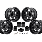 US Mags Indy Wheel Vintage Set of 4 Matte Black 15x8 Kit