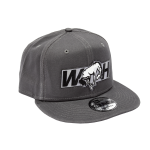 WH Grey Flat Bill Hat Snap Back w/ Black Patch