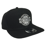 WH Black Flat Bill Hat Snap Back