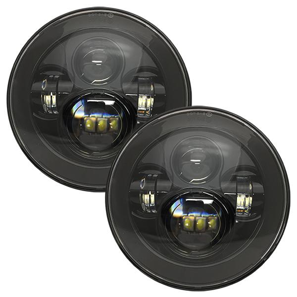 WH Revolution 7 LED Headlight Kit Black Finish