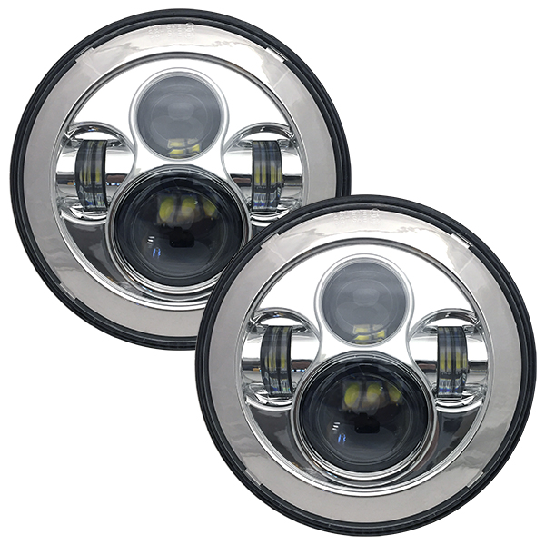 WH Revolution 7 LED Headlight Kit Chrome Finish
