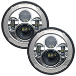 "WH Revolution 7"" LED Headlight Kit Chrome Finish"