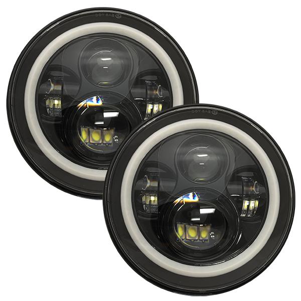 WH Revolution 7 LED Headlight Kit Black Finish White Halo Turn Signal/Running Light