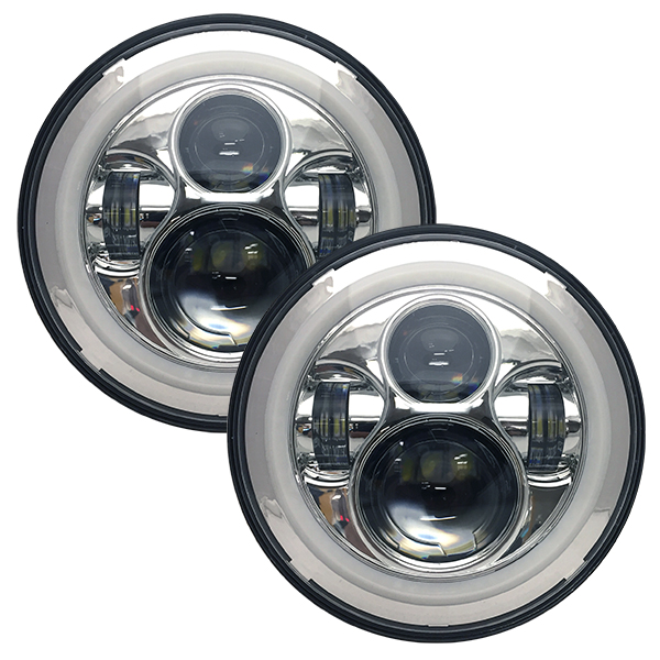 WH Revolution 7 LED Headlight Kit Chrome Finish White Halo Turn Signal/Running Light