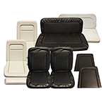 Seat Upholstery Set Front and Rear Black
